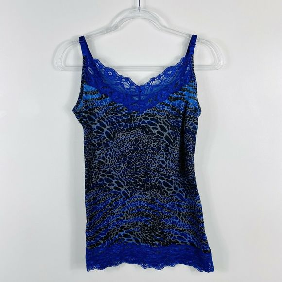 Maurices Tops - Maurices Blue Leopard Print Lace Trim Camisole Top